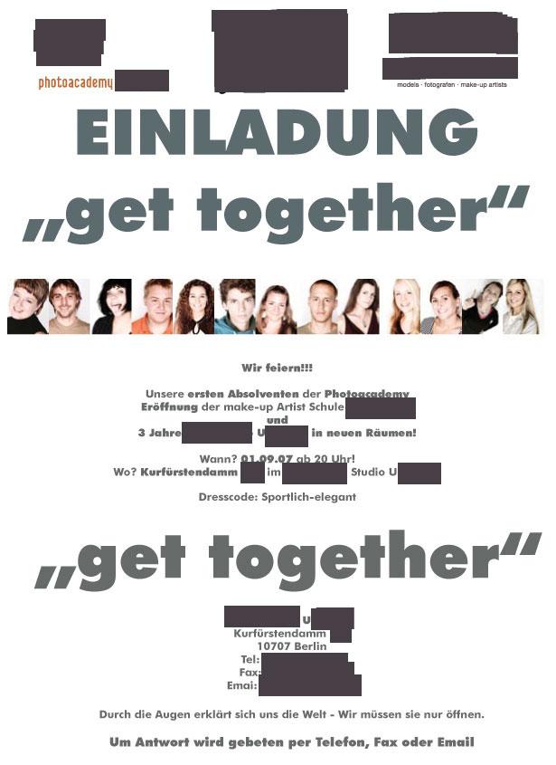 Werbe-E-Mail mit angehängtem Flyer für eine Berliner Fotoschule