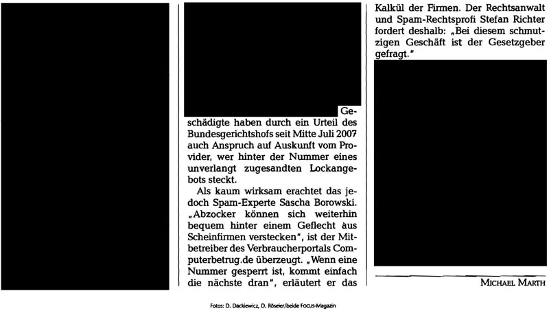 """FOCUS Artikel """"Authentische Lockanrufe"""" in Ausgabe 27 aus 2008 vom 30.06.2008"""