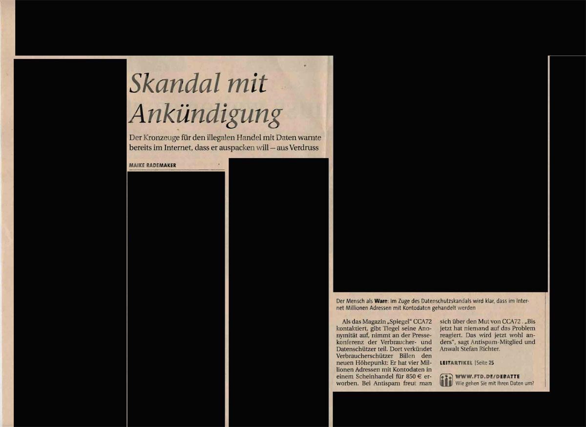 "FTD-Artikel ""Skandal mit Ankündigung"" vom 19.08.2008"