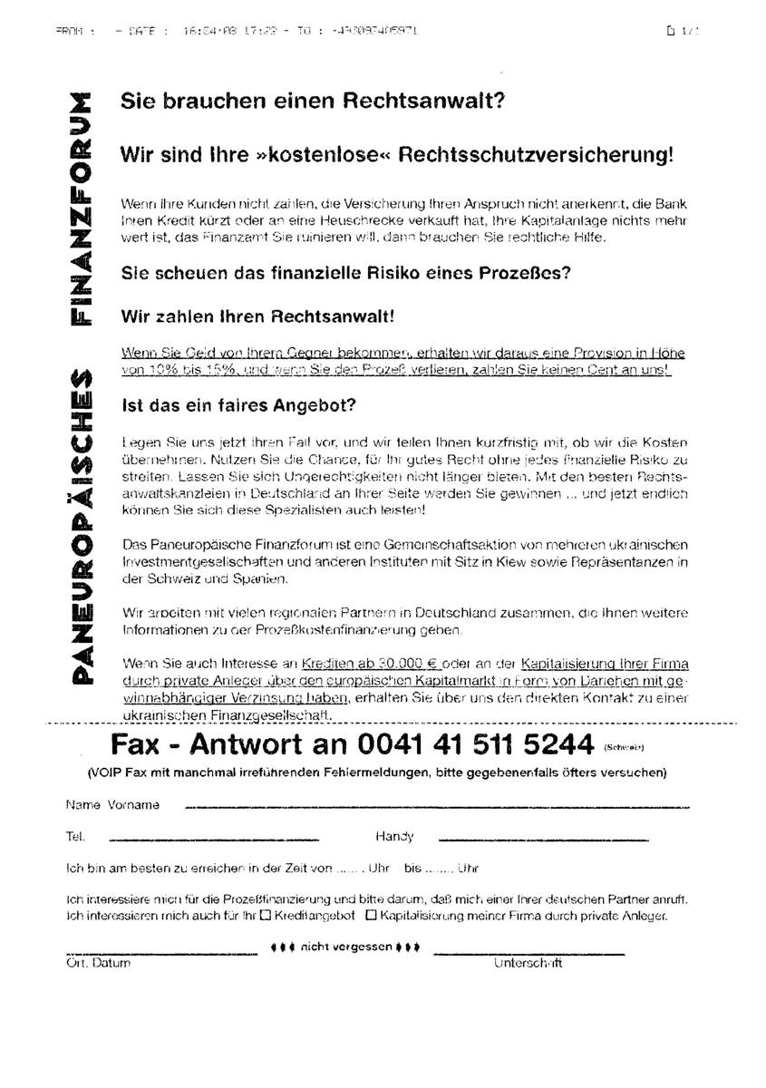 Werbefax des dubiosen Paneuropäischen Finanzforum