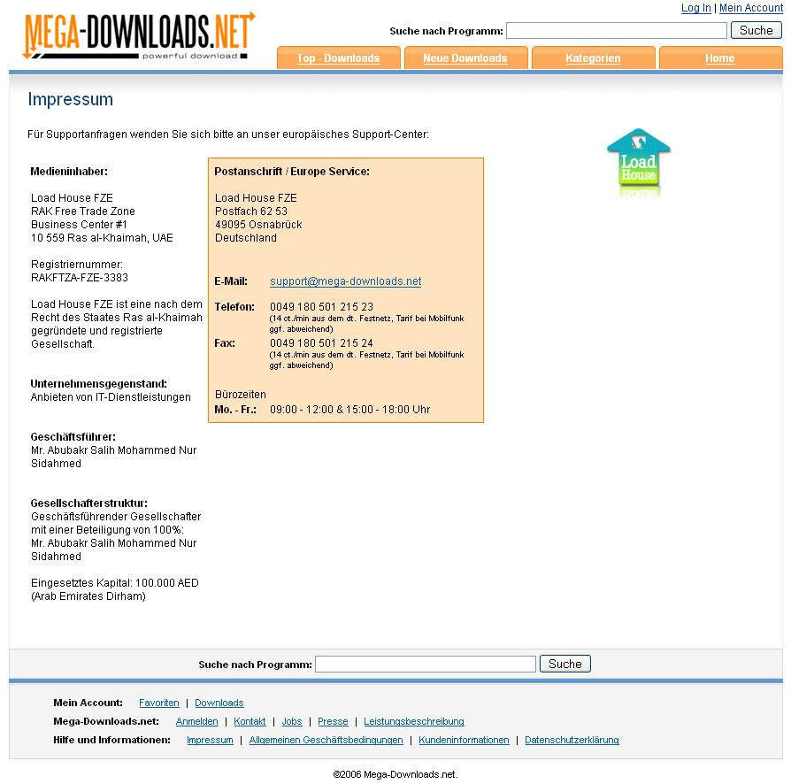 Neues Label aufgepappt: Webseite mega-downloads.net