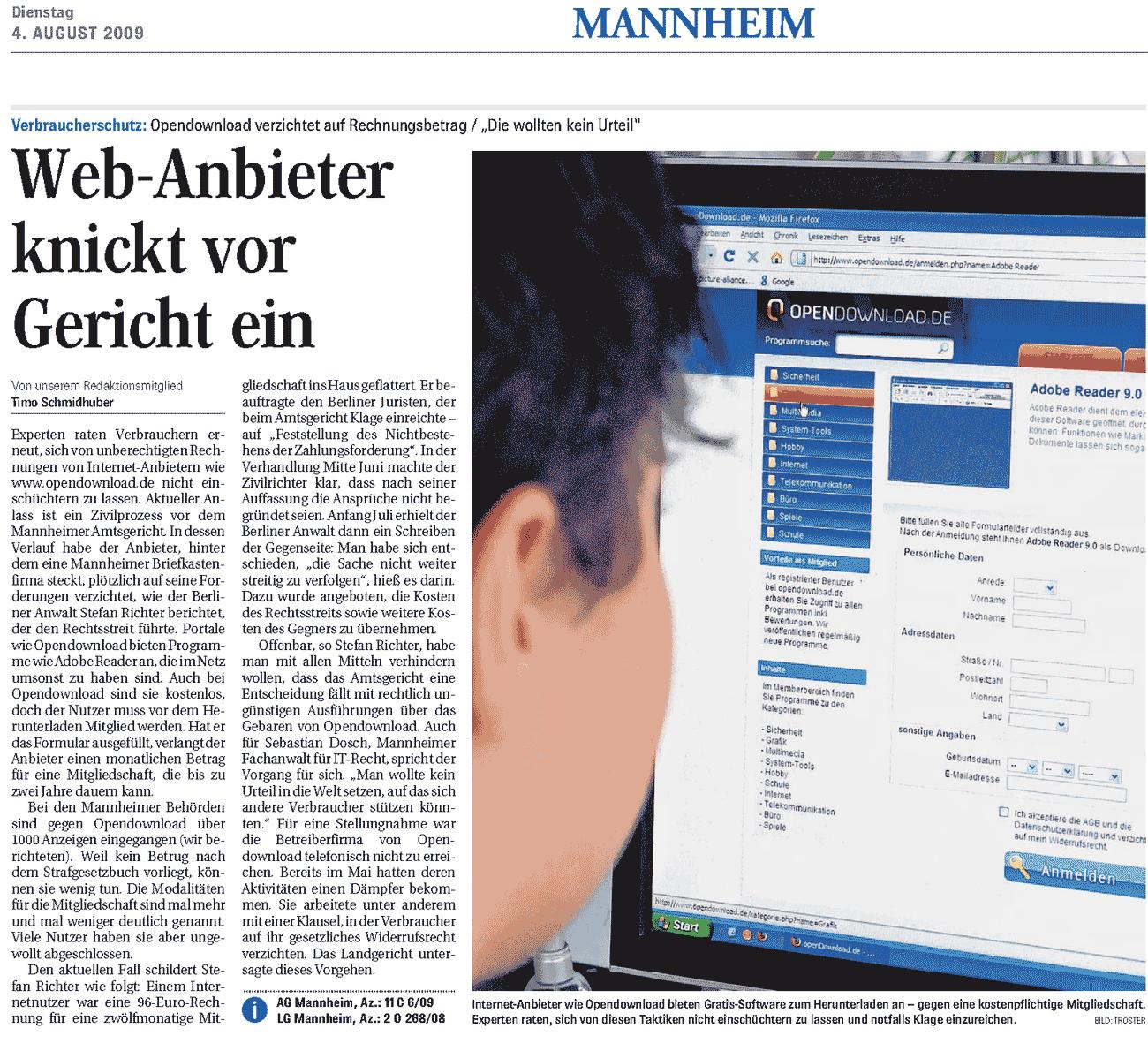 Mannheimer Morgen: Web-Anbieter knickt vor Gericht ein (Rechteinhaber: Mannheimer Morgen/Schmidhuber/Tröster)