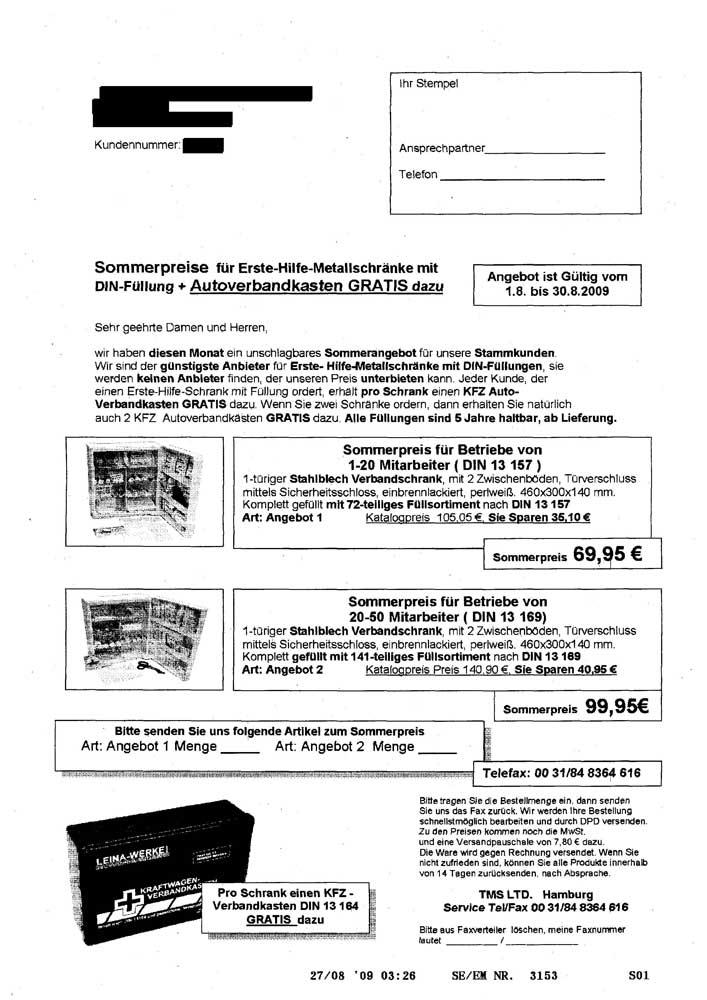 Aktuelles Werbefax TMS LTD