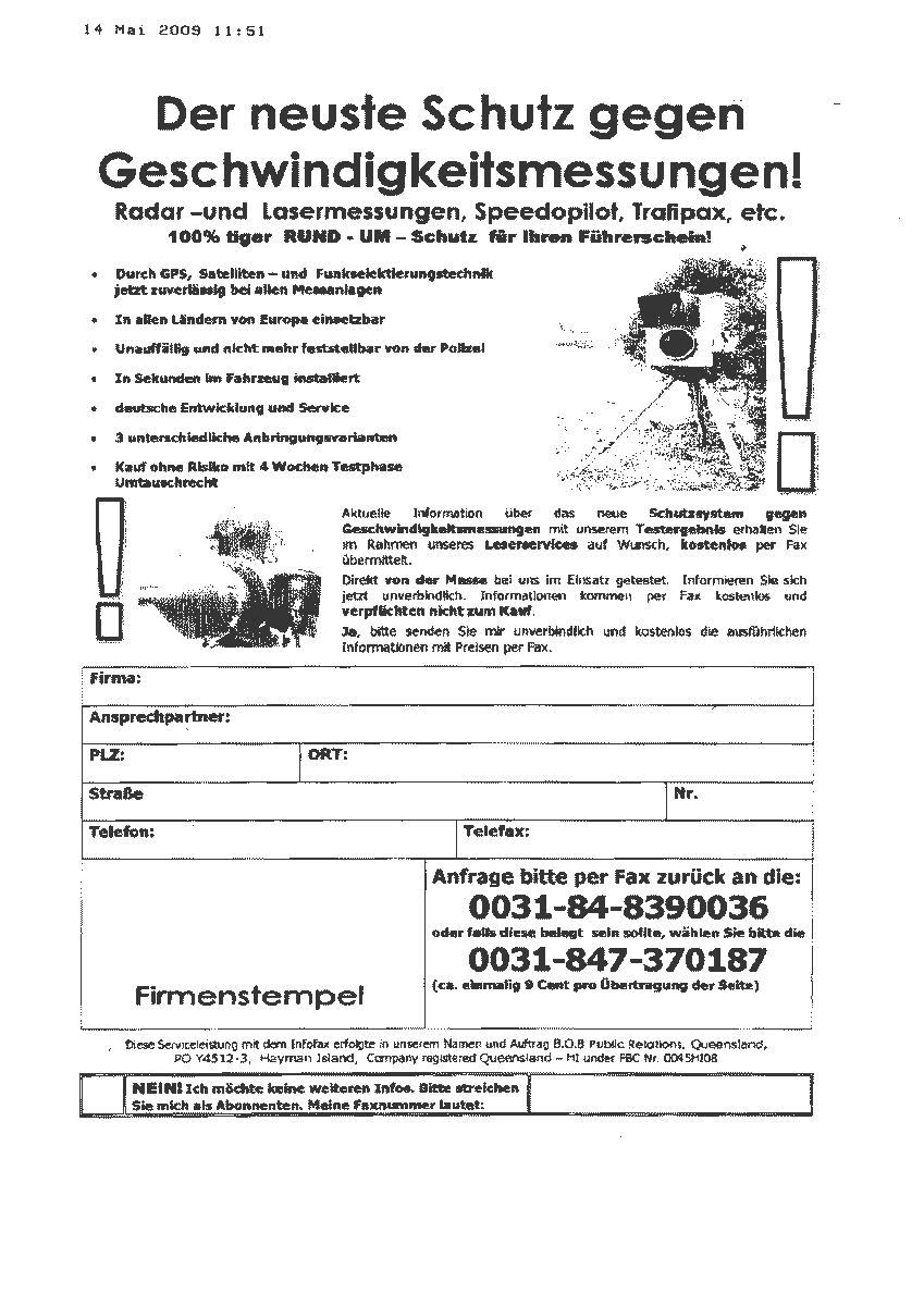 Werbefax für Radarwarner angeblich von