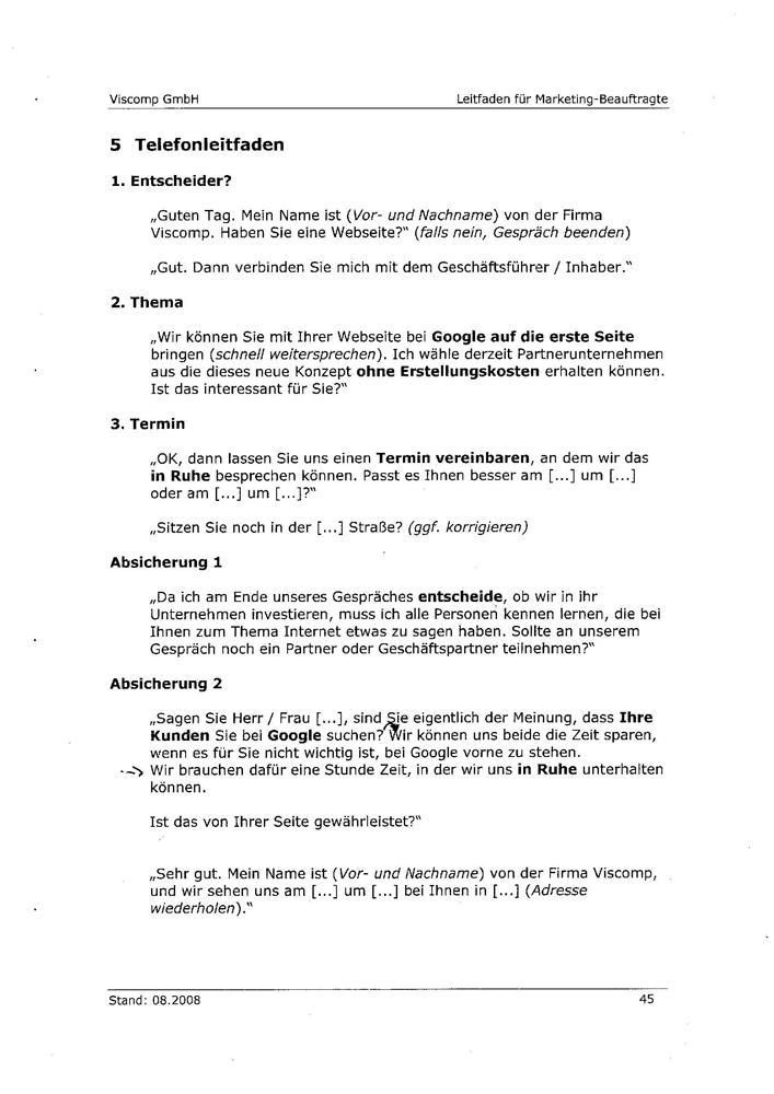 Angeblicher Leitfaden der Viscomp GmbH Seite 1