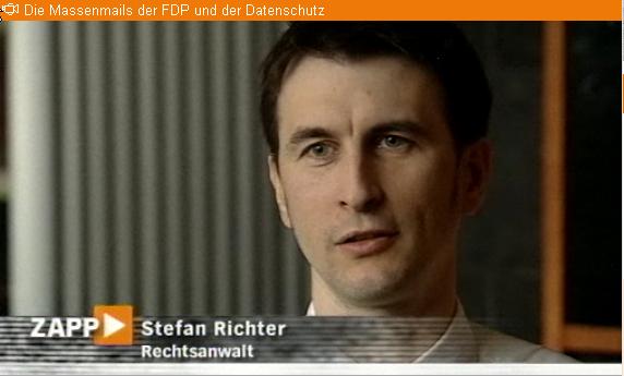 TV-Interview für Medienmagazon ZAPP zum Thema Polit-Spam der FDP