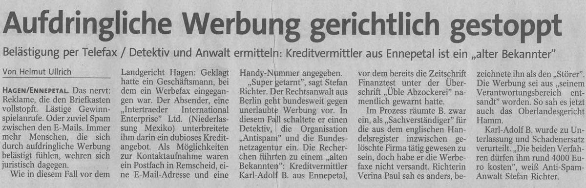 """Westfalenpost aus Hagen vom 15.12.2009: """"Aufdringliche Werbung gerichtlich gestoppt"""""""