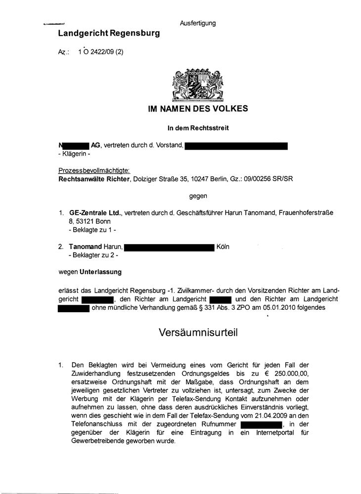Versäumnisurteil Landgericht Regensburg Seite 1