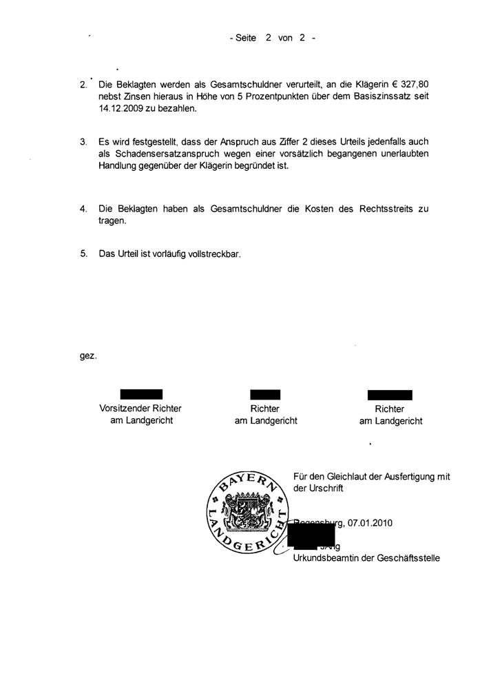 Versäumnisurteil Landgericht Regensburg Seite 2
