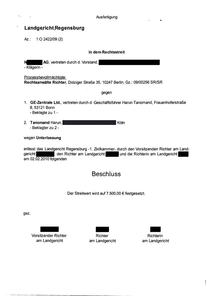 Versäumnisurteil Landgericht Regensburg Seite 3