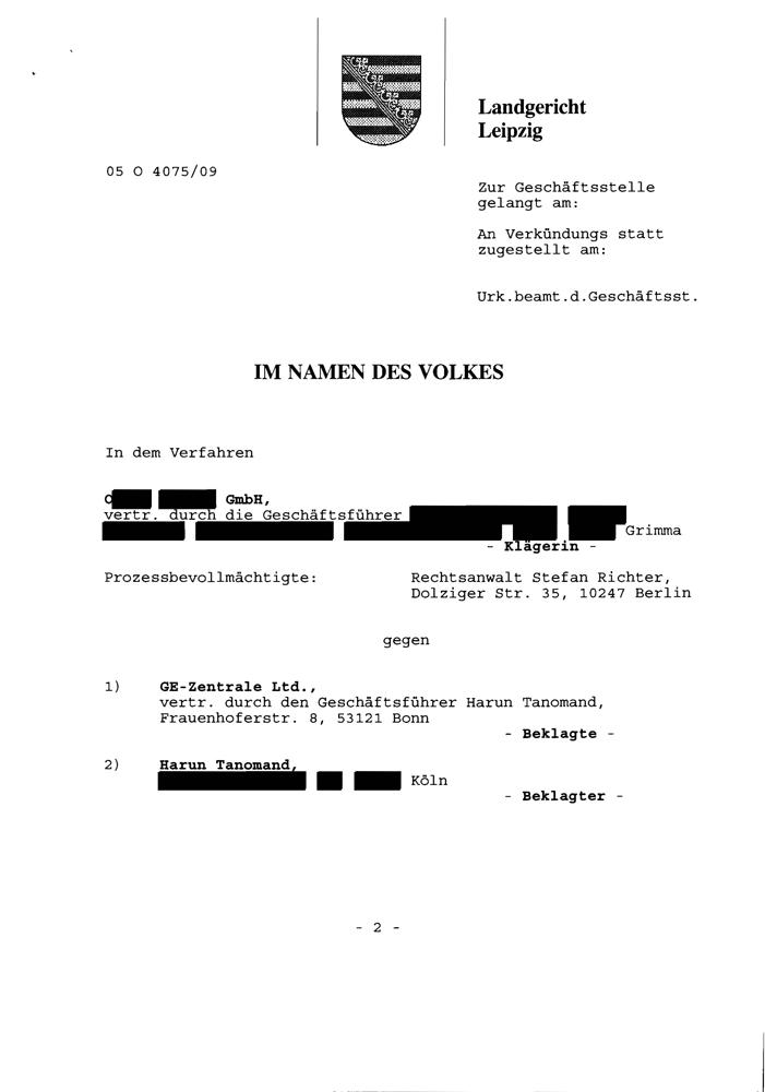 LG Leipzig Versäumnisurteil Seite 1