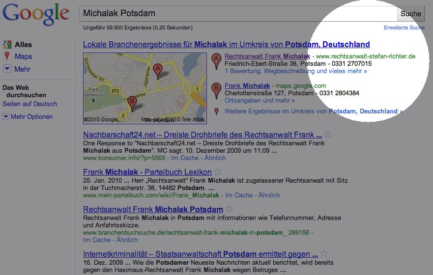 """Suchergebnis Google nach """"Michalak"""" und """"Potsdam"""""""