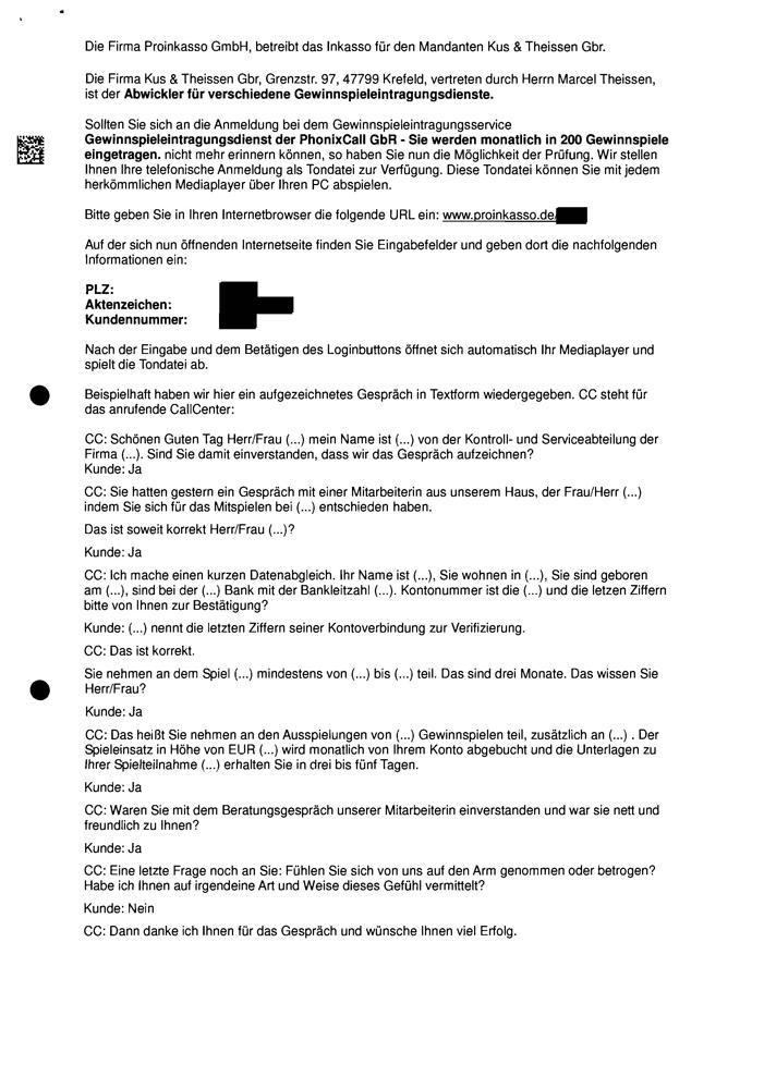 """Seite 2 eines Mahnschreibens der Proinkasso GmbH für """"Die Megachance 24"""": Verweis auf Tondatei mit hochsensiblen Daten"""