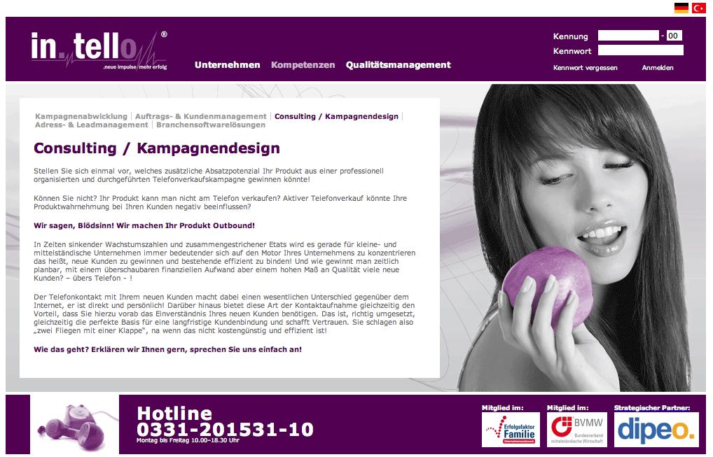"""Screenshot Seite """"Consulting"""" auf in-tello.net vom 17.03.2010"""